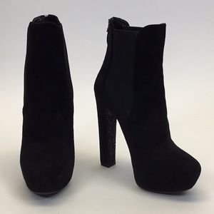 Miu Miu Black Suede Booties with Stretch Sides